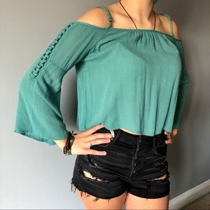 Roxy Off Shoulder Flare Sleeve Top Teal Small
